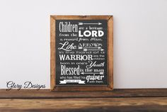Printable Bible verse Scripture art Psalm 127:3-5