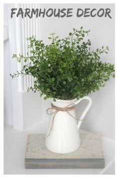 Farmhouse Decor~Faux Greenery~Small Greenery Arrangement~Faux Greenery in a White Pitcher #affiliate #farmhousestyle #homedecor
