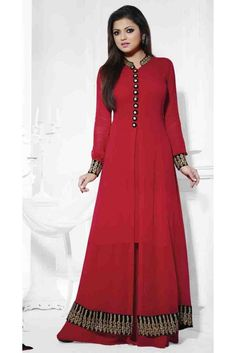 Red Embroidered & Lace Work Georgette Anarkali Salwar Kameez Suit
