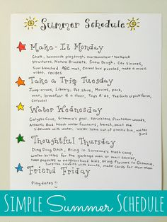 Simple Summer Schedule for Kids
