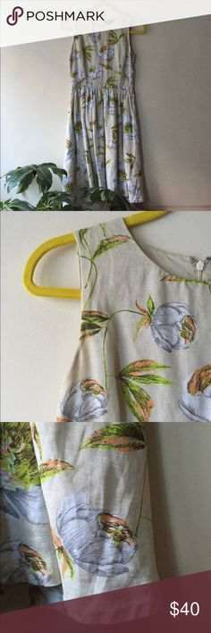 FCUK French Connection Linen Floral A-Line Dress Lightweight flouncy dress in a fun spring/summer print. Size 2 French Connection Dresses Midi