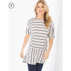 Chico's Zenergy Petite Courtney Striped Hoodie Tunic ($41) ❤ liked on Polyvore featuring tops, tunics, oatmeal, petite, white striped top, petite tunics, striped tunic, petite white tops and petite tops