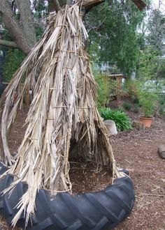 let the children play: just add places to pause, places to hide, places to rest – natural playground ideas Outdoor Learning Spaces, Kids Outdoor Play, Backyard Play, Outdoor Spaces, Shelter, Tractor Tire, Outdoor Classroom, Water Play, Play Houses