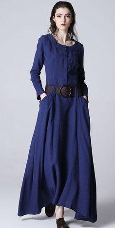 Blue dress maxi linen dress casual dress women dress by xiaolizi