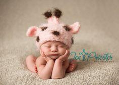 Pink Giraffe Hat Newborn Baby Hat, Knit Newborn Hat, Crochet baby Hat. $35.00, via Etsy.