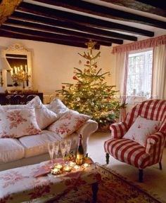 French country style cottage sitting room decorated for Christmas