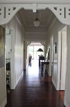 Ashgrovian Queenslander home. Hallway in an old Brisbane home. Photo by Elizabeth Santillan for Walk Among the Homes www. Australian Architecture, Australian Homes, Style At Home, Queenslander House, Long Hallway, Home Photo, My Dream Home, House Plans, Home And Family