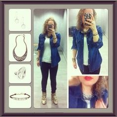 Style 2: Chloe and Isabel #Swag Drama Necklace -> Casual Chic - J. Crew Western Denim shirt + j brand skinnies + Bryan Blake wedge sneakers  #fashion