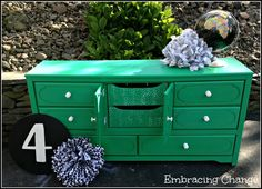 Emerald Green dresser - middle drawers open - Embracing Change