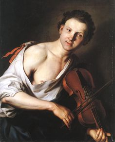KUPECKY, Jan  [Bohemian Baroque Era Painter, 1667-1740]Young Man with a Violin1690s