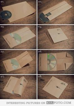 How to make a CD case from a sheet of paper - Picture step-by-step guide to making a CD case from a single sheet of paper.