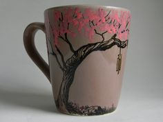 Hand painted Mug   Cherry Blossom with wind chime by Artisvast, $25.00