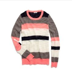 NWOT Madewell Multistripe Colorlane Pullover New without tags!! No blemishes!! Tag says Wallace but is made by Madewell. Gorgeous electric pink, navy, gray, and cream stripes. Detailed with elbow patches. Sold out on Madewell.com (Description and first two photos are via Madewell.com.)                                                    It's true—we like our sweaters loud, and if there were a volume control on this stripy pullover, it would be turned all the way up. •True to size…