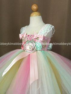 Tutu de tema de Tea party vestido en menta rosa oro y por Abbeykim2