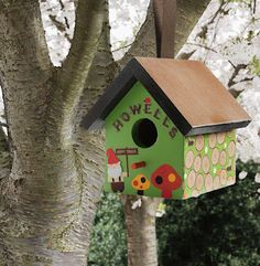 cute Mod Podge Bird house. Love the little gnome on it.