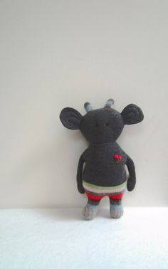 Boo Critter Monster OOAK doll eco friendly upcycled wool sweater Grey stipes soft stocking stuffer collectors item.