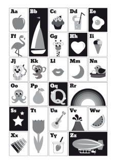 Poster ABC zwart-wit A3 Leer de kleintjes op een speelse manier de letters van het alfabet kennen. Bijzonder aan deze monochrome poster is dat deze zowel in het nederlands als het engels te gebruiken is. Ontzettend leuk om te combineren met de telposter. Afmeting A3, 250 grams papier.  decoratie kinderkamer babykamer