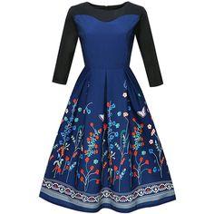 Floral Printed Round Neck Skater Dress ($25) ❤ liked on Polyvore featuring dresses, 3 4 sleeve skater dress, floral print dress, floral dresses, floral skater dresses and vintage floral dress