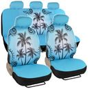 Universal Fit Automotive Gift Set Two Lowback Front Seat Covers and One Rear Bench Seat Cover - Blue Palm Tree Beach Price Girly Car Seat Covers, Blue Seat Covers, Truck Seat Covers, Bench Seat Covers, Car Seat Cover Sets, Car Seats, Car Covers, Automotive Seat Covers, Tree Seat