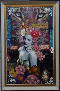 Decoupage. Cut-out and mixed media collage picture from paper bags, wrappings, a lottery ticket, stickers, cloth & wooden embellishment and acrylic paints.Restored old frame