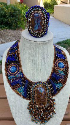 Boulder opal necklace and cuff. Designed by Gloria Rosenbaum Designs.