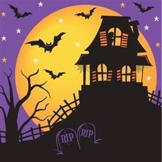 Halloween House of Fright Lunch Napkins pack) Zombie Halloween Party, Image Halloween, Halloween Party Supplies, Diy Halloween Decorations, Spooky Halloween, Halloween Fence, Halloween Quilts, Halloween Haunted Houses, Halloween House