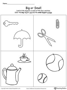 **FREE** Comparing Objects Sizes Big and Small Worksheet.Teach your preschooler the concept of big and small with this printable math worksheet. To complete the exercise your child will compare the shapes and identify which is small and which big. Nursery Worksheets, Printable Preschool Worksheets, Kindergarten Math Worksheets, Preschool Curriculum, Preschool Lessons, Worksheets For Kids, Math Activities, Preschool Activities, Maths