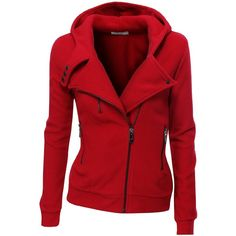 Doublju Fleece Zip-up Hoodie High Neck Jacket ($35) found on Polyvore
