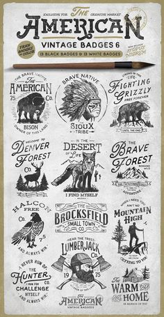 "AMERICAN VINTAGE BADGES PART SIX by Opus NigrumInspired by classic American designs of the century comes a new pack of ""American Vintage Badges"". With different quotes about life and power of nature. Create your own badge or logo with a vintage touch."