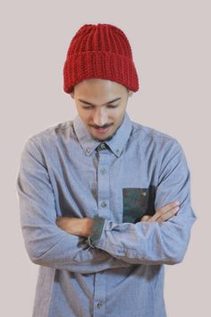 Burgundy Ribbed Folded Ribbed Hat. Men's Men's fashion, Men's hat