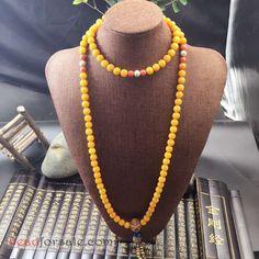 Natural Yellow Bodhi Mala Necklace