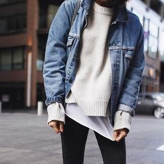 fall layering - white shirt, sweater and denim jacket