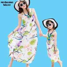Free Shipping Summer 2017 New Fashion Beach Dresses Matching Mother Daughter Clothes Maxi Dress Printing Sleeveless Slim Outfits