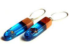 Blue Resin Wood Earrings by LurieStudio on Etsy