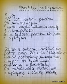 To nie jest post! Old Recipes, Vintage Recipes, Cake Recipes, Cooking Recipes, Polish Desserts, Polish Recipes, Good Food, Yummy Food, Loaf Cake
