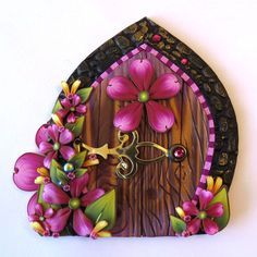 Pink Flower Fairy Door, Miniature Pixie Portal , Home and Garden Decor, Polymer Clay Door, Tooth Fairy Entrance by Claybykim on Etsy