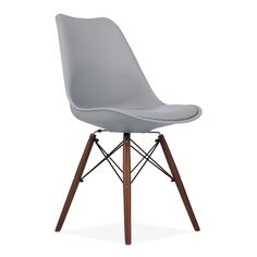 75 each cool grey and walnut padded seat Eames Inspired DSW Style Dining Chair with Natural Wood Legs - Cool Grey