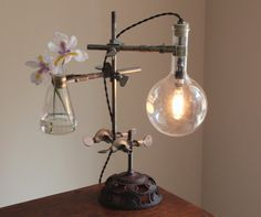 Industrial desk lamp steampunk table light antique chemistry lighting lab laboratory science cool gift biology Edison bulb with flower vase