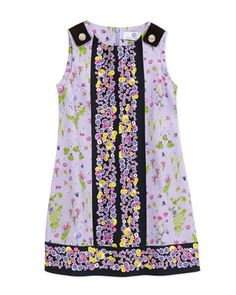 Floral-Print Sleeveless Dress, Lilac/Black, 2-6  by Versace at Neiman Marcus.