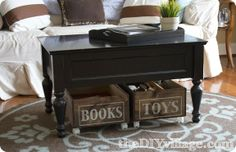 he rolling crates storage under the coffee table is a great idea