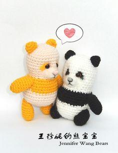 "Panda Cub ""Sorda"" - Free Amigurumi Pattern here: http://jenniferwangbears.com/free-pattern-amigurumi-sorda/"