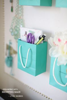 hanging colorful bags on the wall for storage