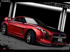 高度に修正されたNISSAN GT-Rの赤、 車 高解像度で壁紙