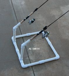 Lightweight PVC fishing pole holder. My husband and son custom designed this cool fishing pole holder. My avid fisherguys think it is the perfect height for being able to quickly grab your fishing pole when getting that big bite (or just a small one).