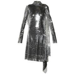 Vetements Open-back high-neck sequin dress ($12,950) ❤ liked on Polyvore featuring dresses, open back midi dress, midi dresses, silver sparkly dress, silver sequin dress and long-sleeve midi dresses