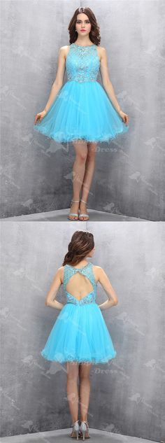 Hot Sale Jewel Emeraid Short Tulle Homecoming Dress with Beading Open Back
