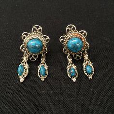 Vintage Faux Turquoise Earrings/ Festival Boho Earrings