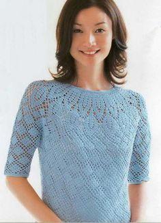@ Вяжем голубую блузку крючком от кокетки | МОЙ МИЛЫЙ ДОМ – идеи рукоделия, вязание, декорирование интерьеров
