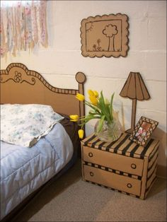 Funny pictures about Cardboard bedroom set. Oh, and cool pics about Cardboard bedroom set. Also, Cardboard bedroom set photos. Cardboard Headboard, Cardboard Box Crafts, Cardboard Design, Cardboard Fireplace, Cardboard Playhouse, Cardboard Letters, Bedroom Furniture, Diy Furniture, Barbie Furniture