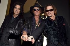 Alice Cooper, Joe Perry and Johnny Depp of Hollywood Vampires arrive at the 58th Annual GRAMMY Awards on Feb. 15 in Los Angeles